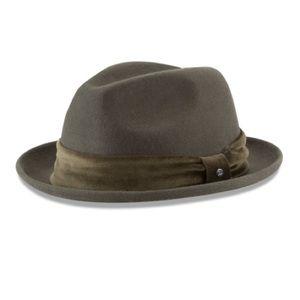 New Era Cap Wide Brim Olive Fedora 100% Wool Hat